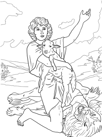 David Gives Praise to God after Killing a Lion coloring