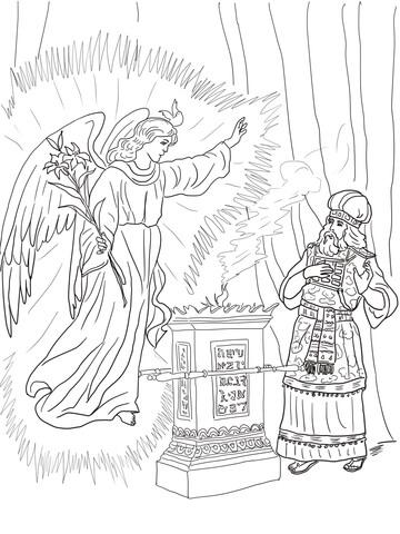 Dibujo de El ángel visita a Zacarías para colorear