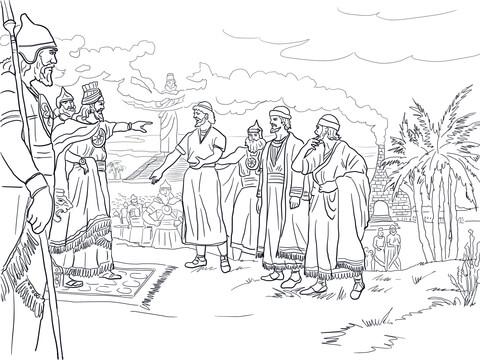 Ausmalbild: Sadrach, Mesach und Abednego vor König