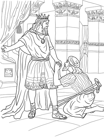 Click to see printable version of David Helps Mephibosheth Coloring page