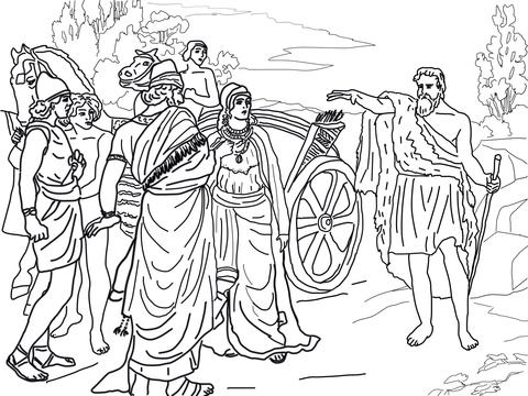 Jezebel and Ahab Meeting Elijah in Naboth's Vineyard