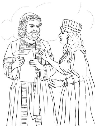 Dibujo de Ester y Mordecai con el Edicto del Rey para
