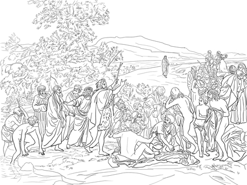 The Apparition of Christ to the People coloring page