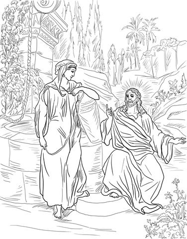 woman at the well coloring page # 6