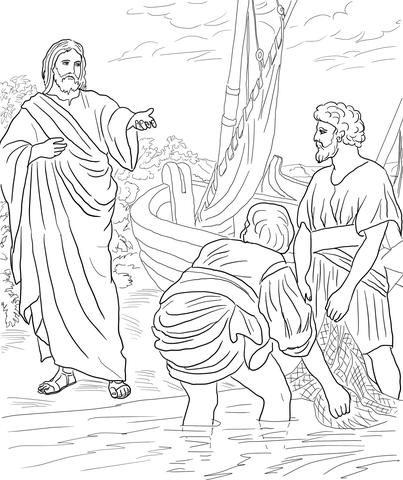 Dibujo de Jesús llama a los primeros discípulos para
