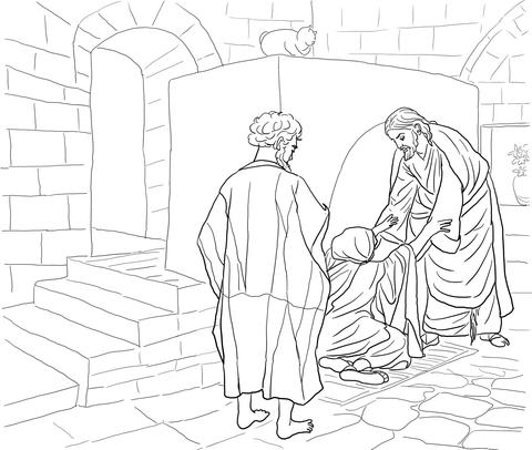 Disegno di Gesù guarisce la Suocera di Pietro da colorare