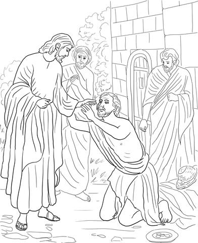 Dibujo de Jesús cura al ciego Bartimeo para colorear