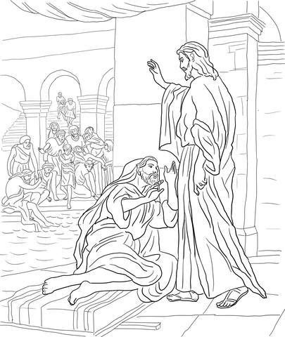 Ausmalbild: Jesus heilt den Mann am Teich von Bethesda