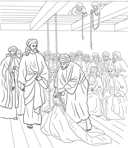 Ausmalbild: Jesus heilt einen gelähmten Mann