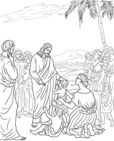 Dibujo de Jesús bendice a los niños para colorear