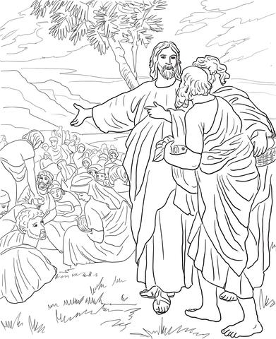 Dibujo de Jesús alimenta a la multitud con Pan y Pescado