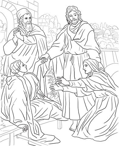 Dibujo de Jesús resucita al hijo de la viuda para colorear