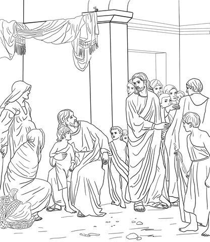 Let the Little Children Come Unto Jesus coloring page