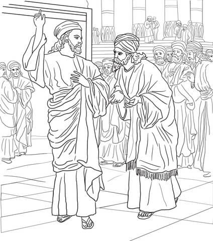 Dibujo de Los Fariseos y los Saduceos interrogan a Jesús