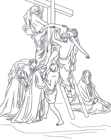 Ausmalbild: 13. Station: Jesus wird vom Kreuz abgenommen