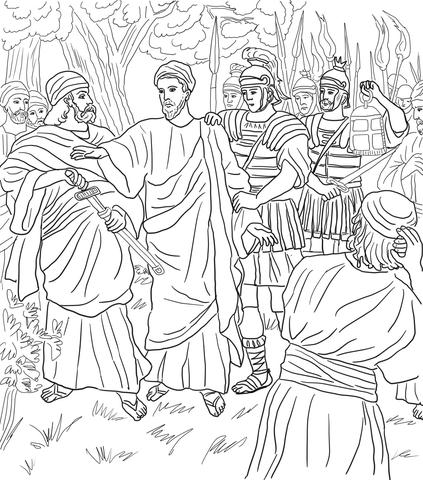 Ausmalbild: Jesus wird im Garten von Gethsemane verhaftet
