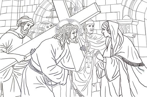 Ausmalbild: 6. Station: Veronika reicht Jesus das