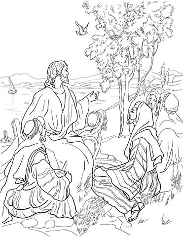 Dibujo de Parábola de la Semilla de Mostaza para colorear