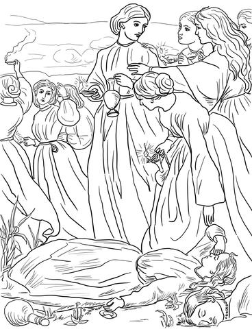 Dibujo de Parábola de las Diez Vírgenes para colorear