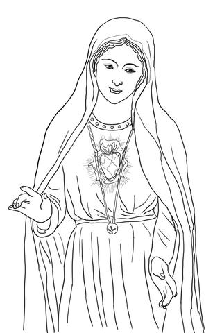 Dibujo de Inmaculado Corazón de María para colorear