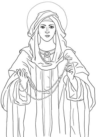 Desenho de Nossa Senhora do Rosário para colorir