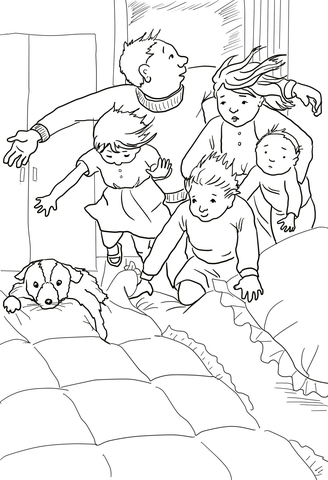 Into the Bedroom in to the Bed Under the Covers coloring