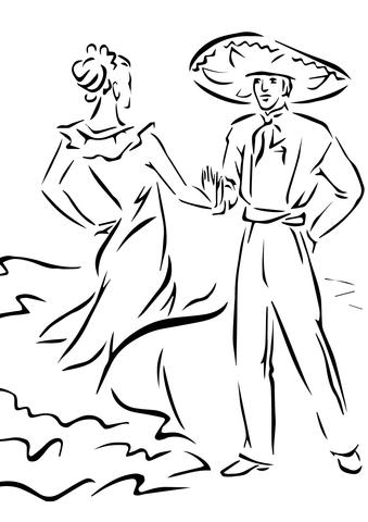 Dibujo de Baile Tradicional del Cinco de Mayo para