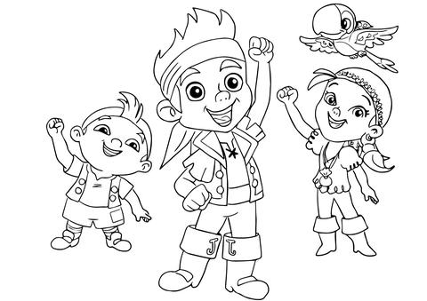 Ausmalbild: Jake, Izzy, Cubby, und Skully freuen sich