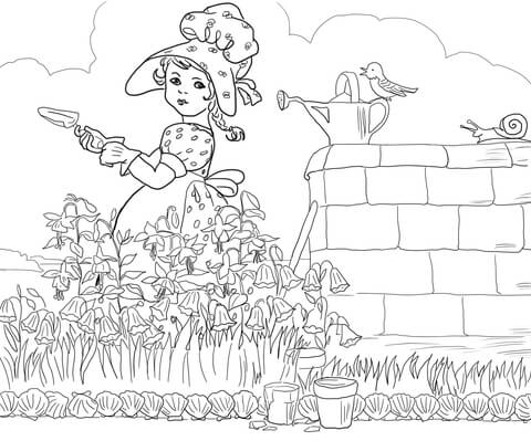Mary Mary Quite Contrary Nursery Rhyme coloring page