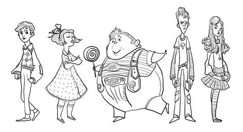 Ausmalbild: Charlie Bucket, Violet Beauregarde, Augustus