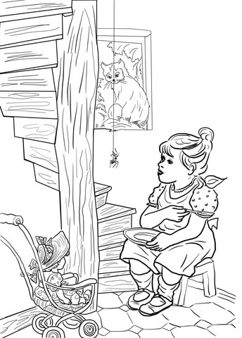 Little Miss Muffet Nursery Rhyme Coloring Page Free
