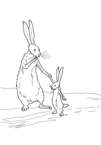 Little Nutbrown Hare and Big Nutbrown Hare coloring page