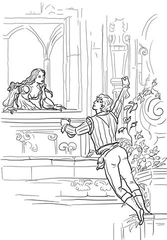 Dibujo de Romeo y Julieta, escena en el balcón para