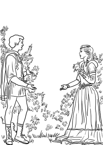 Romeo And Juliet Character Drawings Sketch Coloring Page