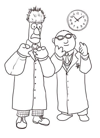 Ausmalbild: Prof. Dr. Honigtau Bunsenbrenner und Assistent