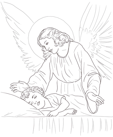 Realistic Guardian Angel Coloring Coloring Pages