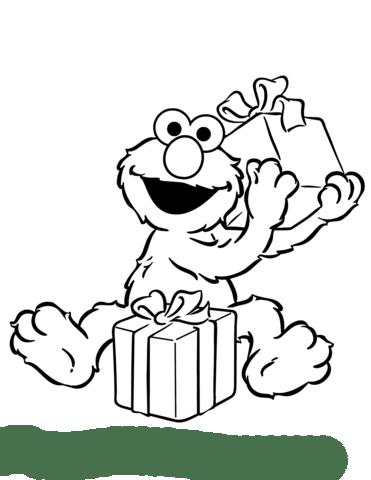 Ausmalbild: Elmo öffnet Geburtstagsgeschenke