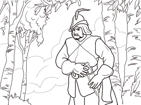 The Queens Huntsman in the forest coloring page  Free