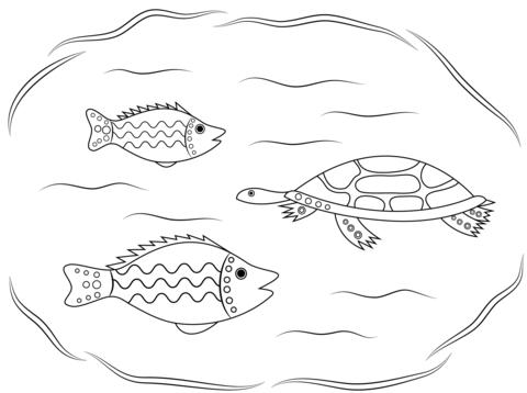 Ausmalbild: Schildkröte und Fische, Aborigines Kunst