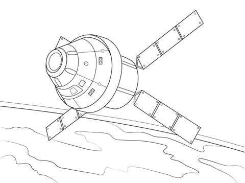 Ausmalbild: Orion-Kapsel mit auf dem ATV basierenden