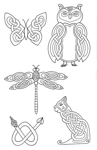 Dibujo de Animales con diseño celta para colorear