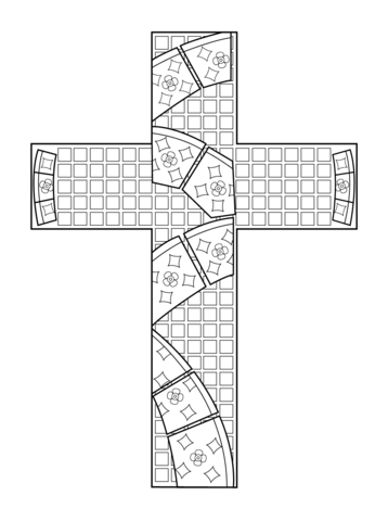 Ausmalbild Kreuz-Mosaik Ausmalbilder kostenlos zum