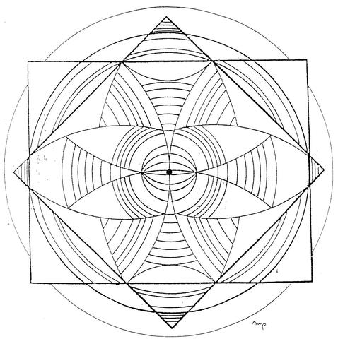 Disegno di Mandala con ellissi e quadrati da colorare