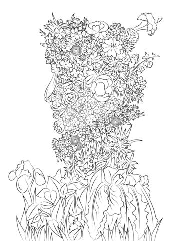 Disegno di Primavera di Giuseppe Arcimboldo da colorare