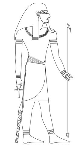 Disegno di Atum, antica divinità egizia della creazione da