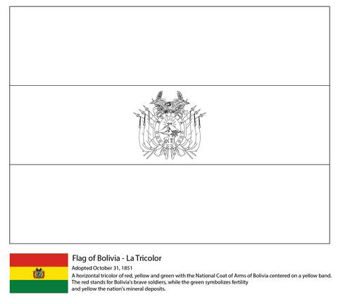 Dibujo De Bandera De Bolivia Para Colorear Dibujos Para