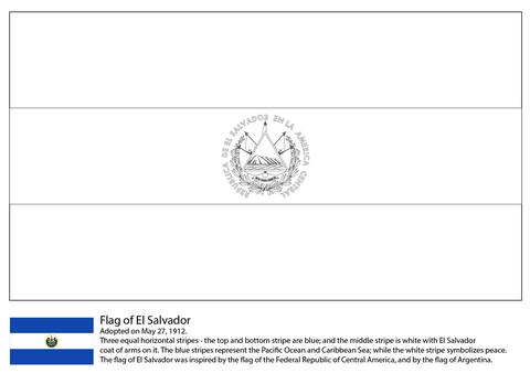 Dibujo de Bandera de El Salvador para colorear