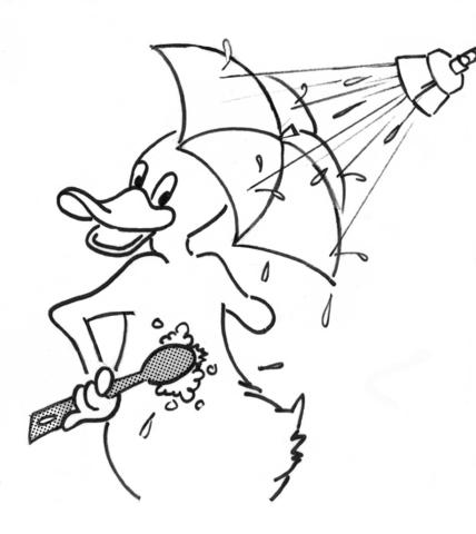 Desenho de Pato de Desenho Animado no Chuveiro para