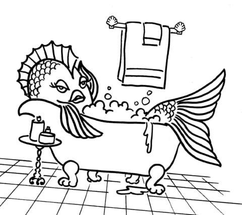 Dibujo de Dibujo de un Pez en la Bañera para colorear