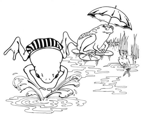 Desenho de Sapos de Desenho Animado Nadando para colorir